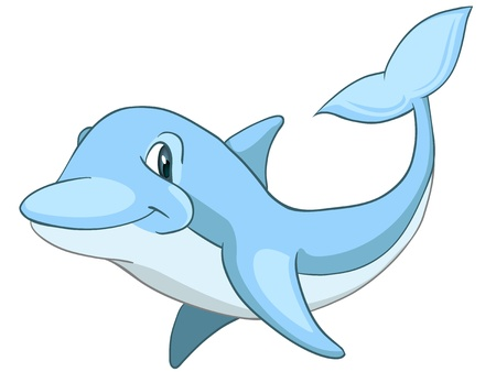 dolphin fish: Cartoon Character Dolphin Illustration