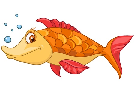 cartoon fishing: Cartoon Character Fish