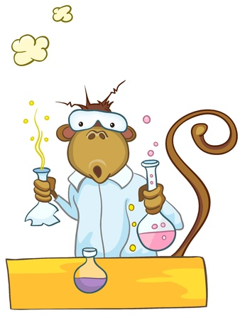 test tube babies: Cartoon Character Monkey Illustration