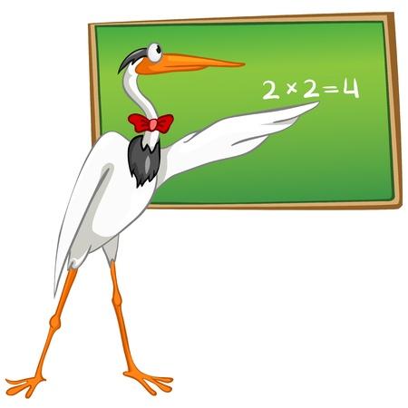 Cartoons School Bird Heron Vector