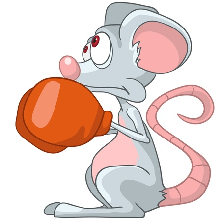 Cartoon Character Mouse Boxer Vector