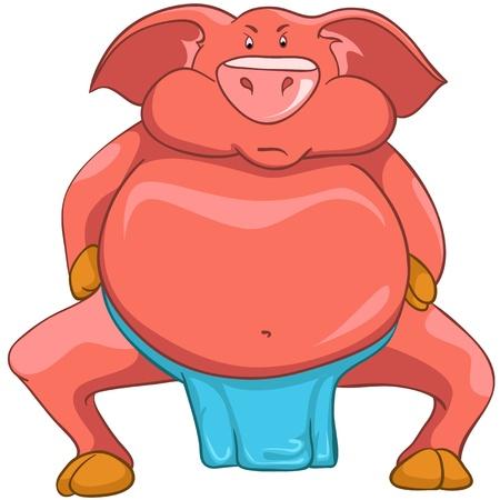 wrestling: Cartoon Character Pig