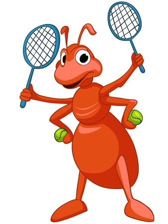 tennis racquet: Caricatura Ant caracteres Vectores