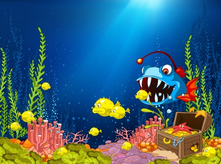 Ocean Underwater Cartoon Vector