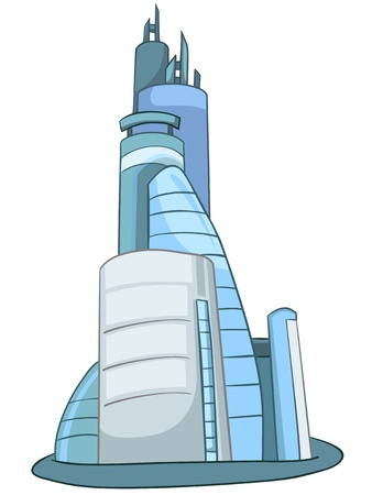 futuristic city: Cartoon Skyscraper