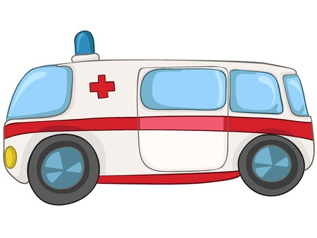 acute care: Cartoon Emergency Car Illustration