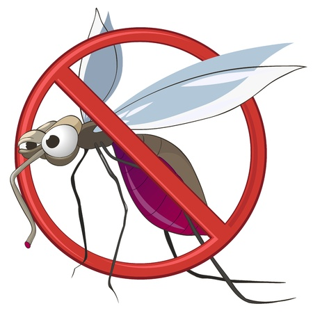 Cartoon STOP Mosquito Illustration