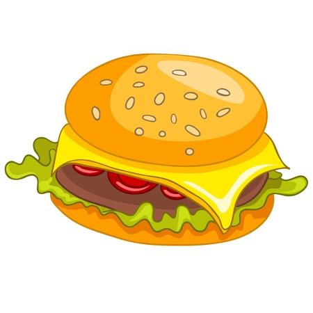 karikatuur: Cartoon Eten Hamburger