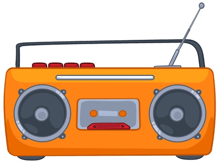 portable audio: Cartoon Appliences Recorder Illustration