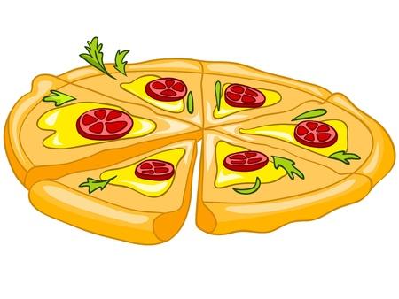 pepperoni pizza: Cartoon Food Pizza Stock Photo