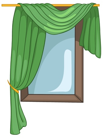 window curtains: Cartoon Home Window Illustration