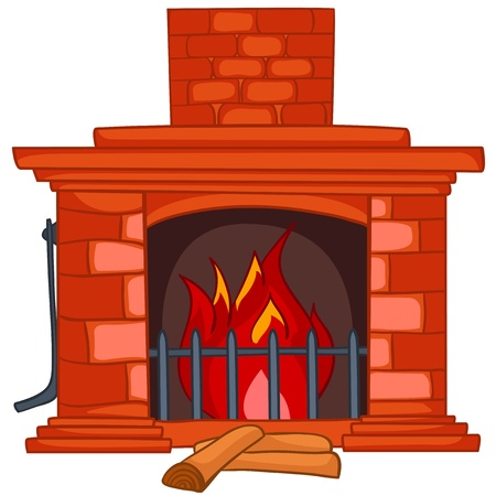 stone fireplace: Cartoon Home Fireplace Illustration