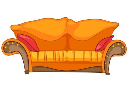 Cartoon Home Meubelen Sofa Stock Illustratie