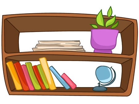 shelf with books: Cartoon Home Furniture Book Shelf Illustration