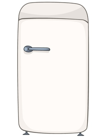 refrigerator: Cartoon Home Kitchen Refrigerator Illustration
