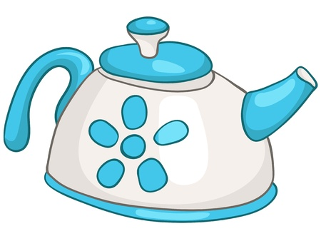 boiling water: Cartoon Home Kitchen Kettle Illustration