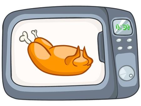 Cartoon Home Kitchen Microwave 矢量图像