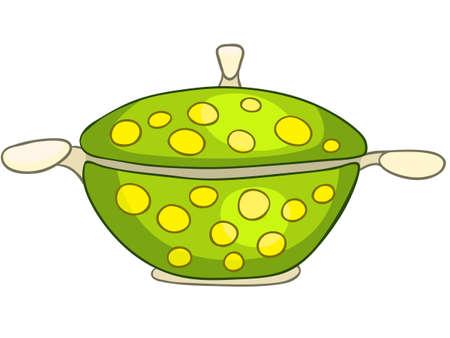 Cartoon Home Kitchen Pot Illustration