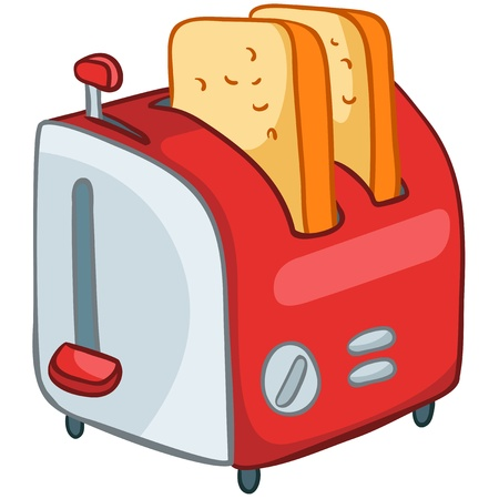 hot temperature: Inicio de Cartoon Cocina Tostadora Vectores