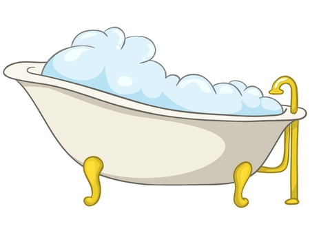 bath room: Cartoon Home Washroom Tub Illustration