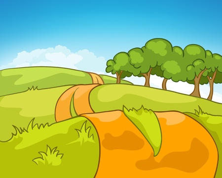 Cartoon Nature Landscape Ilustracja