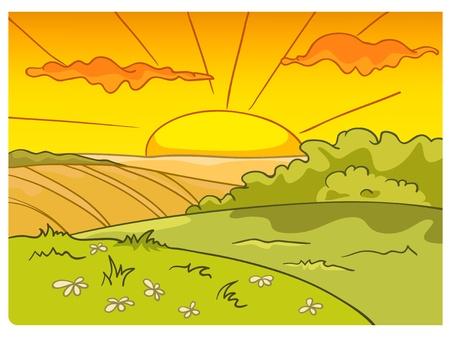 Cartoon Natuur Landschap Stock Illustratie