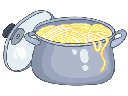 stew pot: Cartoon Home Kitchen Pot Illustration