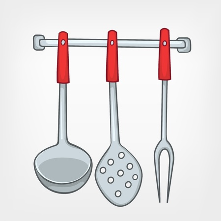 Cartoon Home Kitchen Spoon Set Vettoriali