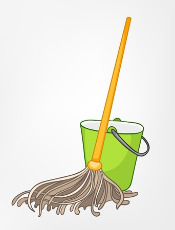 Cartoon Home Miscellaneous Mop Vector