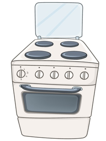 stainless steel kitchen: Cartoon Home Kitchen Stove