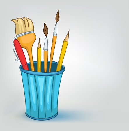 miscellaneous: Cartoon Home Miscellaneous Pencil Set Illustration