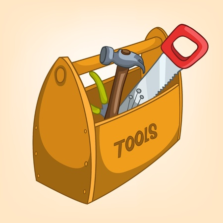 toolbox: Cartoon Home Miscellaneous Tool Box Illustration