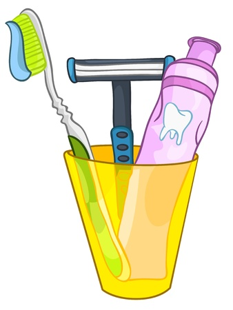 cleanliness: Cartoon Home Washroom Tooth Brush Illustration