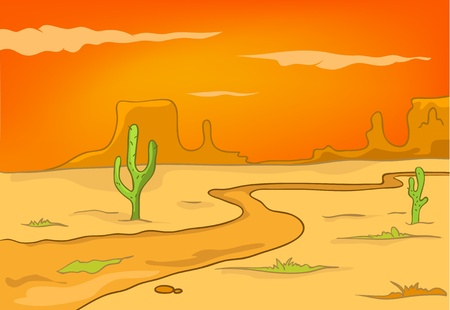 cactus desert: Cartoon Nature Landscape Desert