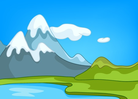 Cartoon Natuur Landschap Stock Illustratie