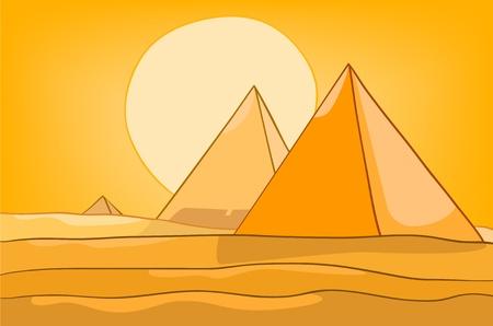 Naturaleza Cartoon Paisaje Pirámide Vectores