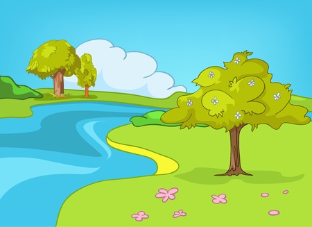 Cartoon Nature Landscape Stock Vector - 12996705