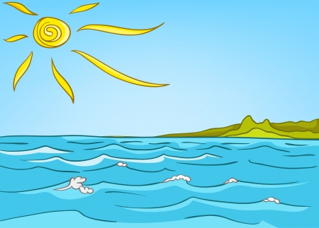 Cartoon Nature Landscape Sea Vector
