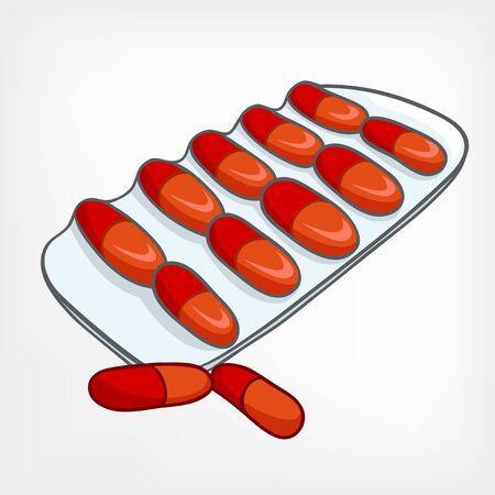 Cartoon Home Medicine Pills Иллюстрация
