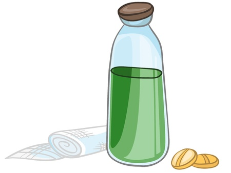 pill bottle: Cartoon Home Medicine Pills Illustration