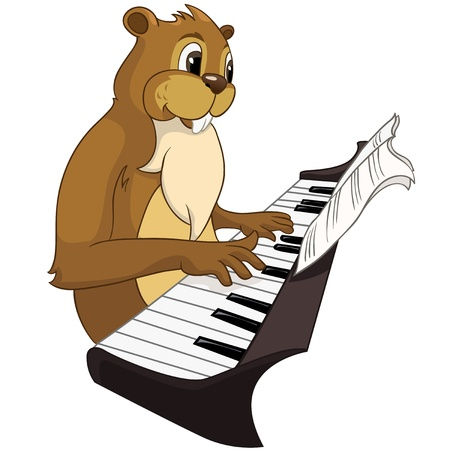 keyboard player: Beaver CREES Illustration