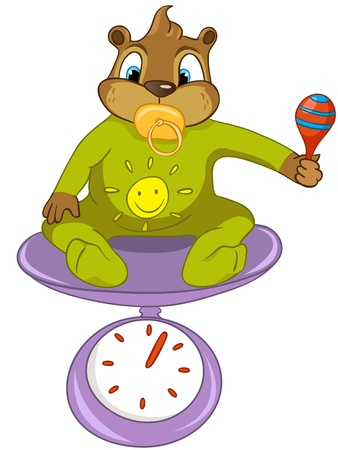 weighing scale: cute Illustration