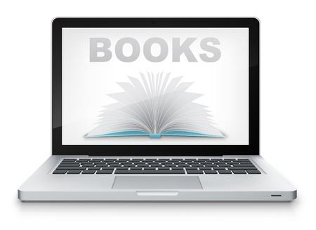 Vector Open Book in Laptop