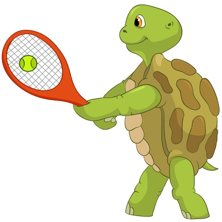 Funny Turtle  Tennis Player  Stock Photo