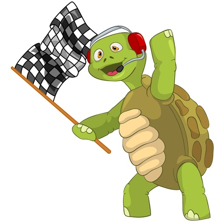 Funny Turtle  Race Finish  Stock Vector - 13533885