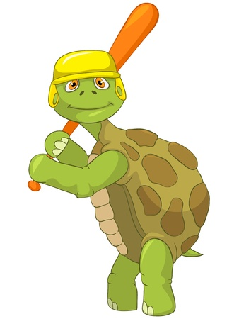 turtle isolated: Tortuga divertida Jugador de B�isbol