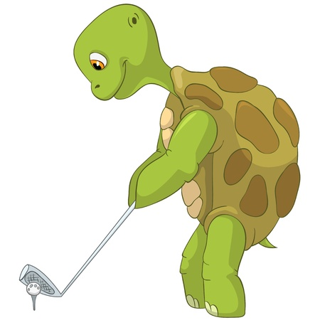 Funny Turtle  Golf Player Stock Vector - 13533814