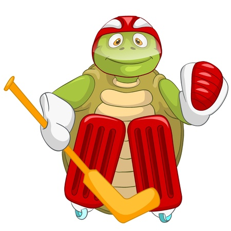 Funny Turtle  Hockey Goalie Stock Vector - 13533856