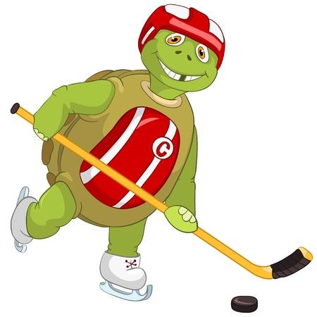 Funny Turtle  Hockey Player