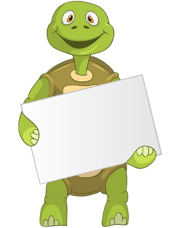 outstretched: Funny Turtle  Holding Box  Illustration